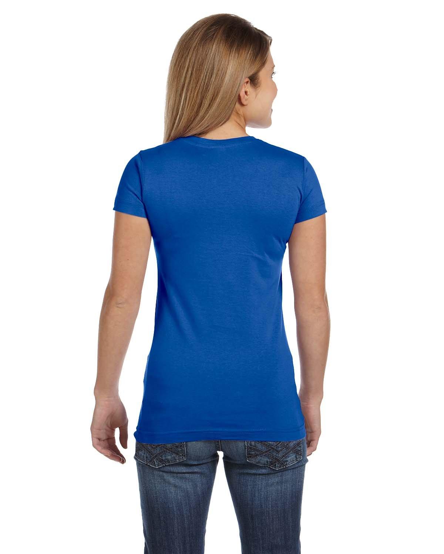 LAT Juniors' Fine Jersey V-Neck Longer Length T-Shirt, Small, Royal