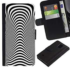 KingStore / Leather Etui en cuir / Samsung Galaxy S5 Mini, SM-G800 / Modelo de la cebra óptica hipnótica vista Dise?o