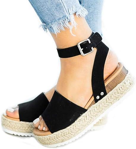 Women Platform Espadrilles Sandals Flat Ankle Strap Summer Casual Shoes Size NEW