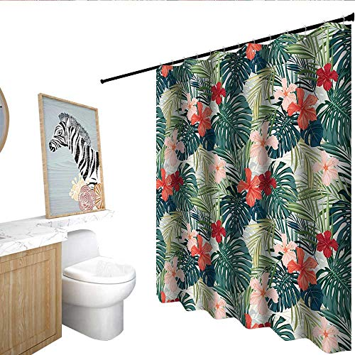 homecoco Leaf Polyester Shower Curtain Summer Beach Holiday Themed Hibiscus Plumeria Crepe Ginger Flowers Single stall Shower Curtain Pink Red Green and Dark Green W72 x L84