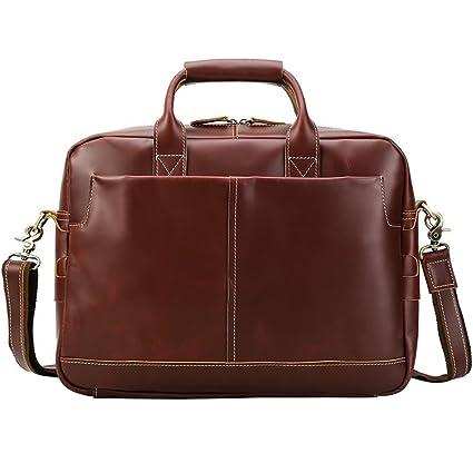 AFCITY maletín para Ordenador portátil Cartera de Negocios de Cuero para Mujer de 15.6 Pulgadas Cartera