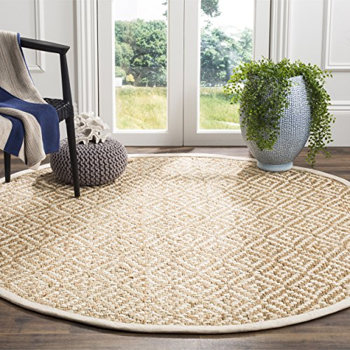 Safavieh Natural Fiber Collection NF261A Ivory and Natural Round Area Rug, 6' in ()