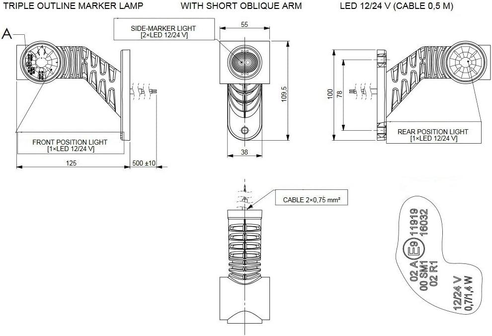 2 X LED gomma luce di posizione laterale Lampada 12 V 24 V con ...