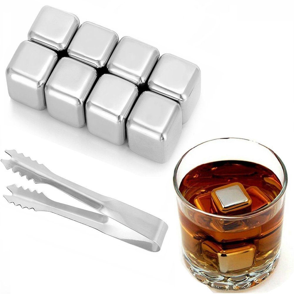 ELSKY Food Grade Stainless Steel Cooling Cubes, Deluxe Whiskey Stones, Reusable Ice Cubes Chilling Frozen Rocks for Wine, Beer, Beverage Juice - Pack of 8 with Tip Tongs EL-SKY