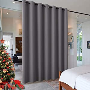 RYB HOME Blackout Blind Curtains Space Divider Adjustable Ceiling to Floor Blackout Curtain Drape for Bedroom/Dorm Decor/Doorway Curtain, Wide 8.3 ft x Long 7 ft, Grey, Single Panel