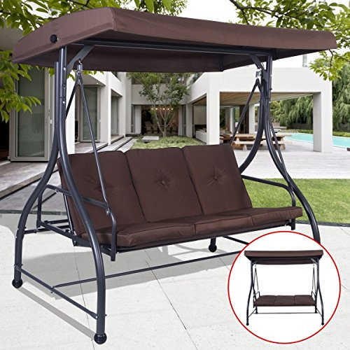 Premium Quality Patio Swing Chair Convertible For 3 Person With Canopy And Firm Cushions Perfect Set For Patio, Garden, Outdoor, Porch And Poolside. (Brown) - Abba Children's Costumes