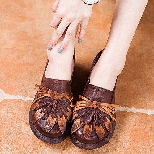 Bomba 6cm wedege talón redondo dedo del pie Ascensor calzado zapatos zapato corte zapatos mujeres flor de borla borla nacionales viento elástico zapatos ocasionales zapatos de vestir 2017 otoño e invi Brown