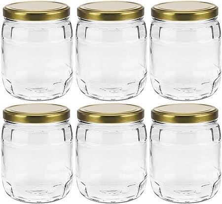 Barattolo in Vetro con Etichette mikken 4 x barattoli in Vetro da 1,5 l con Tappo a Vite Oro