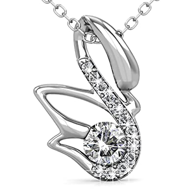264eed6aa0970 FAPPAC Swan Bird Pendant Necklace Enriched with Swarovski Crystals