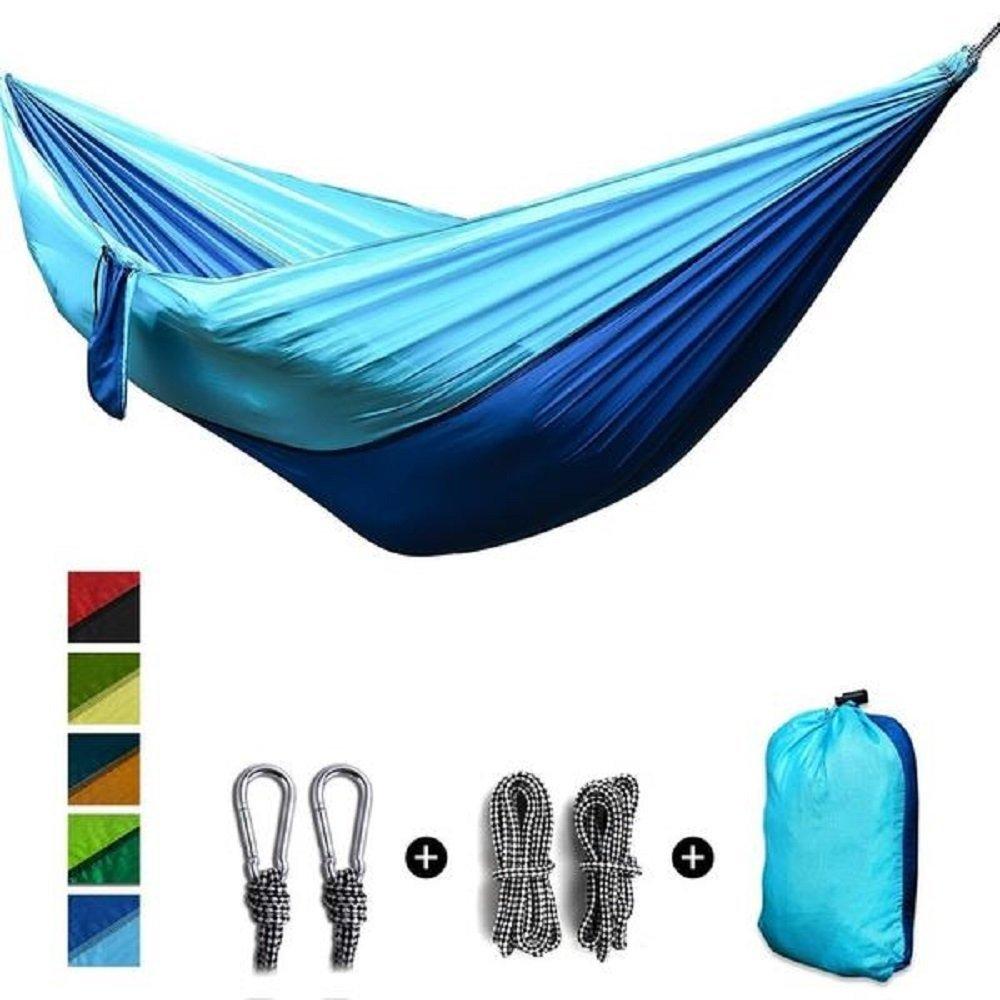 2人ポータブルパラシュートハンモック。。Great for Camping B078SK9XBM  Blue and Light Blue