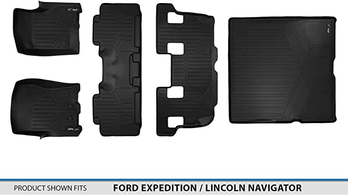MAXLINER A0183//B0183//C0183 SMARTLINER Floor Mats 3 Row Liner Set Black for 2011-2017 Expedition//Navigator with 2nd Row Bench Seat Or Console No EL or L Models