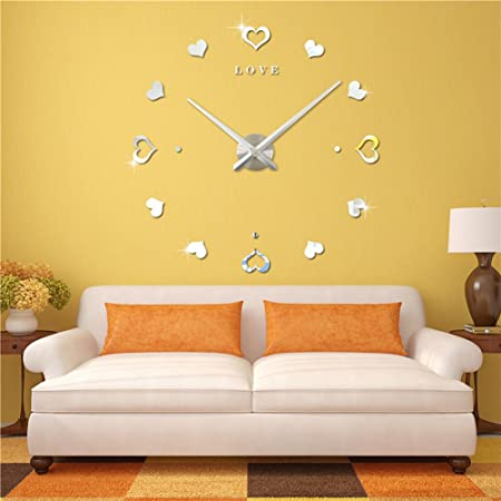 cbb5756b8 FAS1 Large Wall Clock Modern DIY Big Watch Decals 3D Stickers Mirror Effect Wall  Clock Home