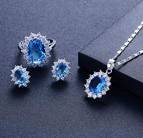 (Earrings for Women, Brides, Wedding,Wang Hao With The Sapphire Ring Set Ladies High-grade Crystal Diamond Europe And South Korea Jewelry (Lake Blue))