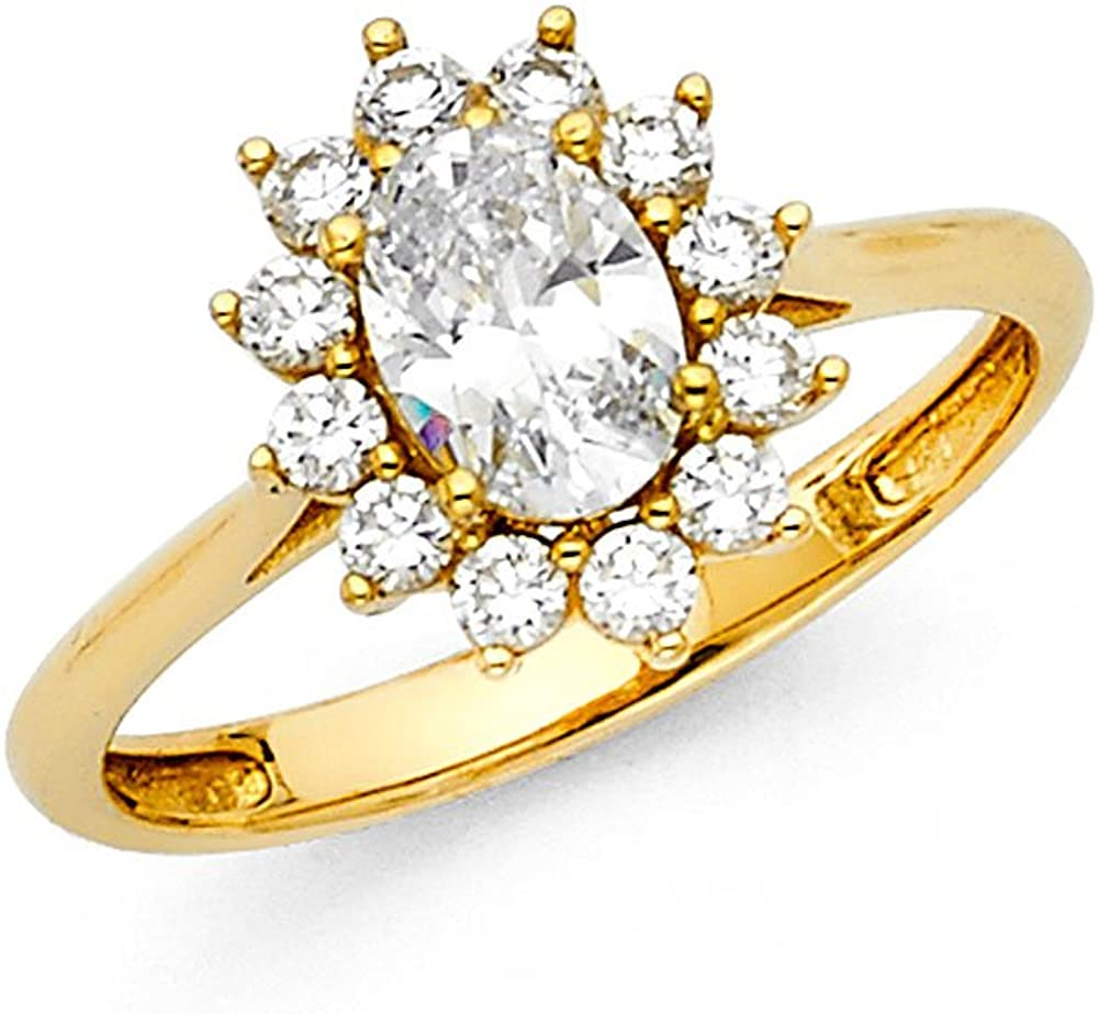 Oval CZ Halo Engagement Ring 14k Yellow OR White Gold Anniversary Flower CZ Ring Bridal Solitaire Band