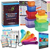 ALL IN ONE Portion Control Containers Kit With 5 MEASURING SPOONS and COMPLETE Guide + 21 DAY FIX MEAL PLANNER and Recipes Cookbook PDFs. Multi-Colored Coded System, 100% Leak Proof!