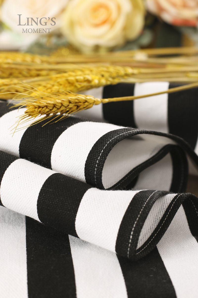 Ling's moment Classical Durable Black and White Striped Table Runner - Cotton Canvas Fabric Table Top Decoration 12'' x 108'' / 9 FT by Ling's moment (Image #3)