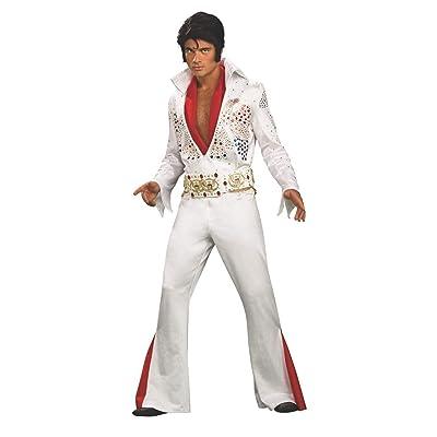 Official Licensed Elvis Presley King Of Rock Vegas 50/'s Fancy Dress Wig Set 4