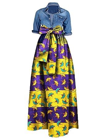 febef9c1a43f0 Huiyuzhi Womens African Print Dashiki Dress Long Maxi A Line Skirt Ball  Gown Purple
