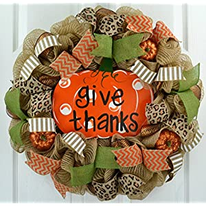 Fall Mesh Wreath | Give Thanks Pumpkin Deco Mesh Outdoor Front Door Wreath 55