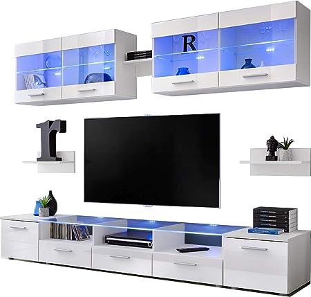 ExtremeFurniture Flash Mueble para TV, Carcasa en Negro Mate/Frente en Blanco Alto Brillo + LED Mando a Distancia: Amazon.es: Hogar