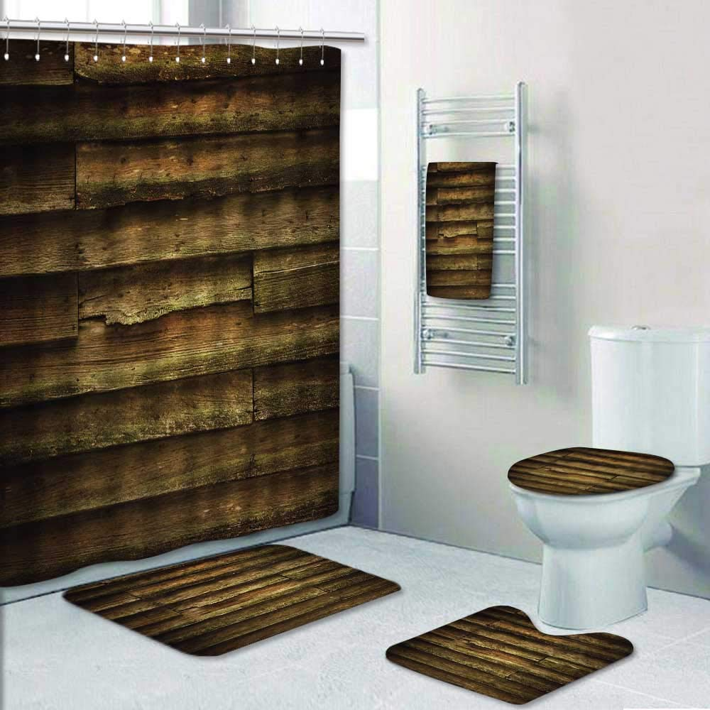 Philip-home 5 Piece Banded Shower Curtain Set Vintage Teak Wood for Decorate The Bath