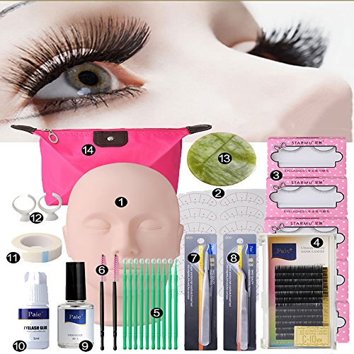 Zinnor Makeup Mannequin Head Set, Professional Eyelash Extensions Practice Set 30 Pcs Grafting Eyelash Tools Kit with Mannequin Head Accessories for Practice or False Eyelashes Application Training ()