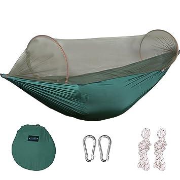 Hamaca de G4Free con diseño portátil, plegable y con mosquitera; ideal para patios, camping, interiores o senderismo, Verde oscuro: Amazon.es: Deportes y ...