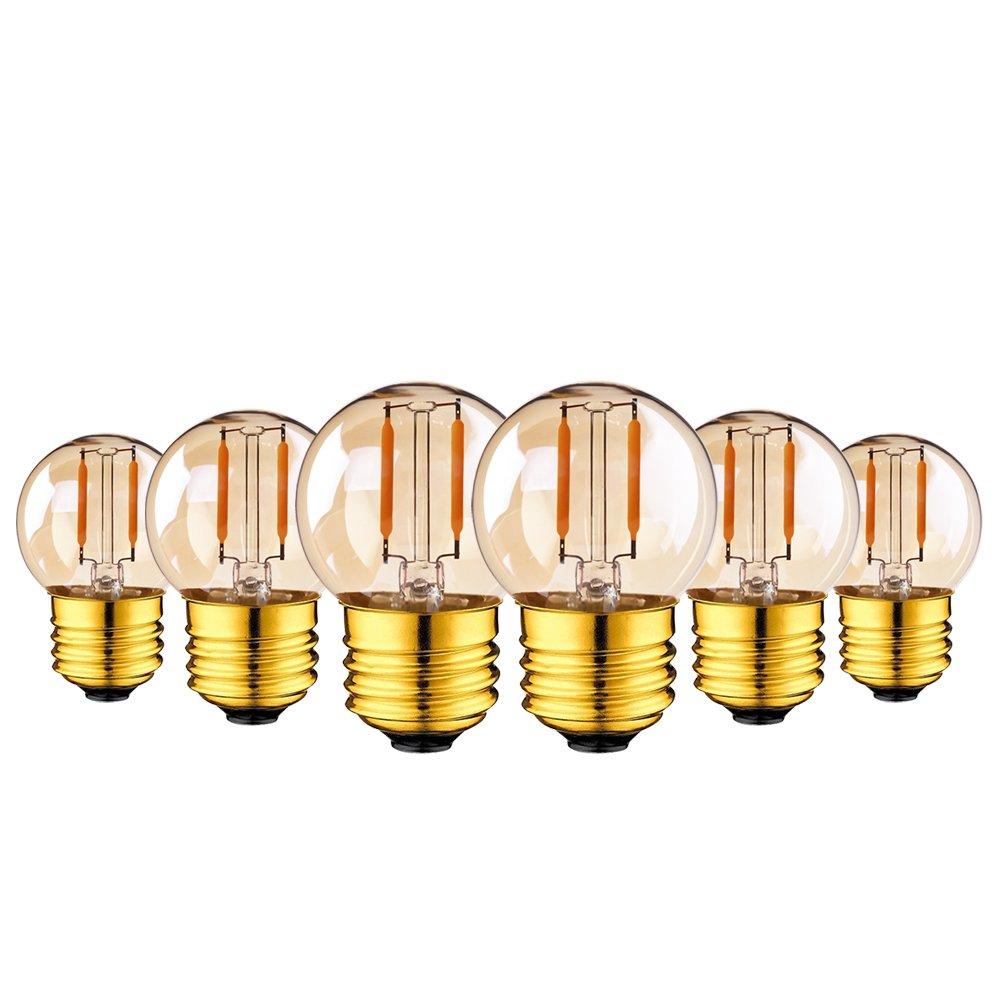 Genixgreen G40 LED filamento Mini Globe cadena exterior bombilla 1W Warm White 2200K 10W equivalente de repuesto para decoraci/ón interior y exterior E27 Edison Screw Base 15-Pack
