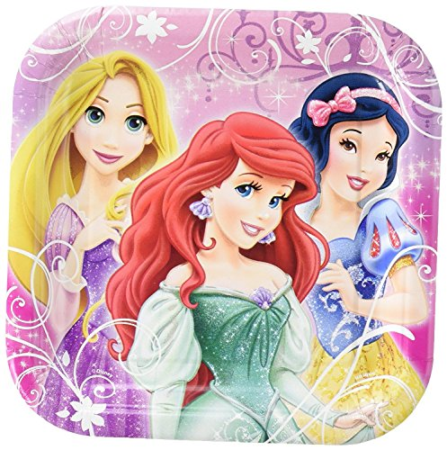 - D8 Disney Princess Party Pack. Contains 24 Square 7 IN. Plates. Bundle of 3.