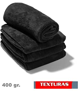 TEXTURAS - 2X1 - Toalla GYM Peluquería 400 gr/m2 Color NEGRO O BLANCO Algodón