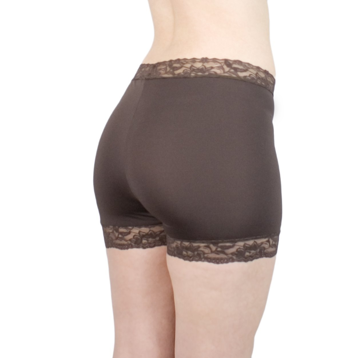Brown Booty Shorts Lace Trim Lightweight No Chafe Tap Pants