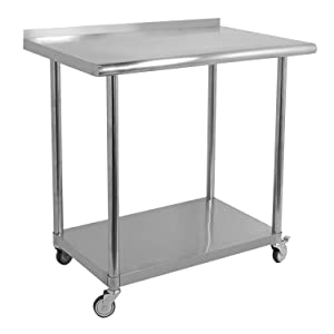 tonchean Commercial Kitchen Prep Work Table 36 x 24 Inches with Caster Wheels Stainless Steel Work Table Heavy Duty Table with Undershelf and Backsplash for Restaurant Kitchen Home and Hotel