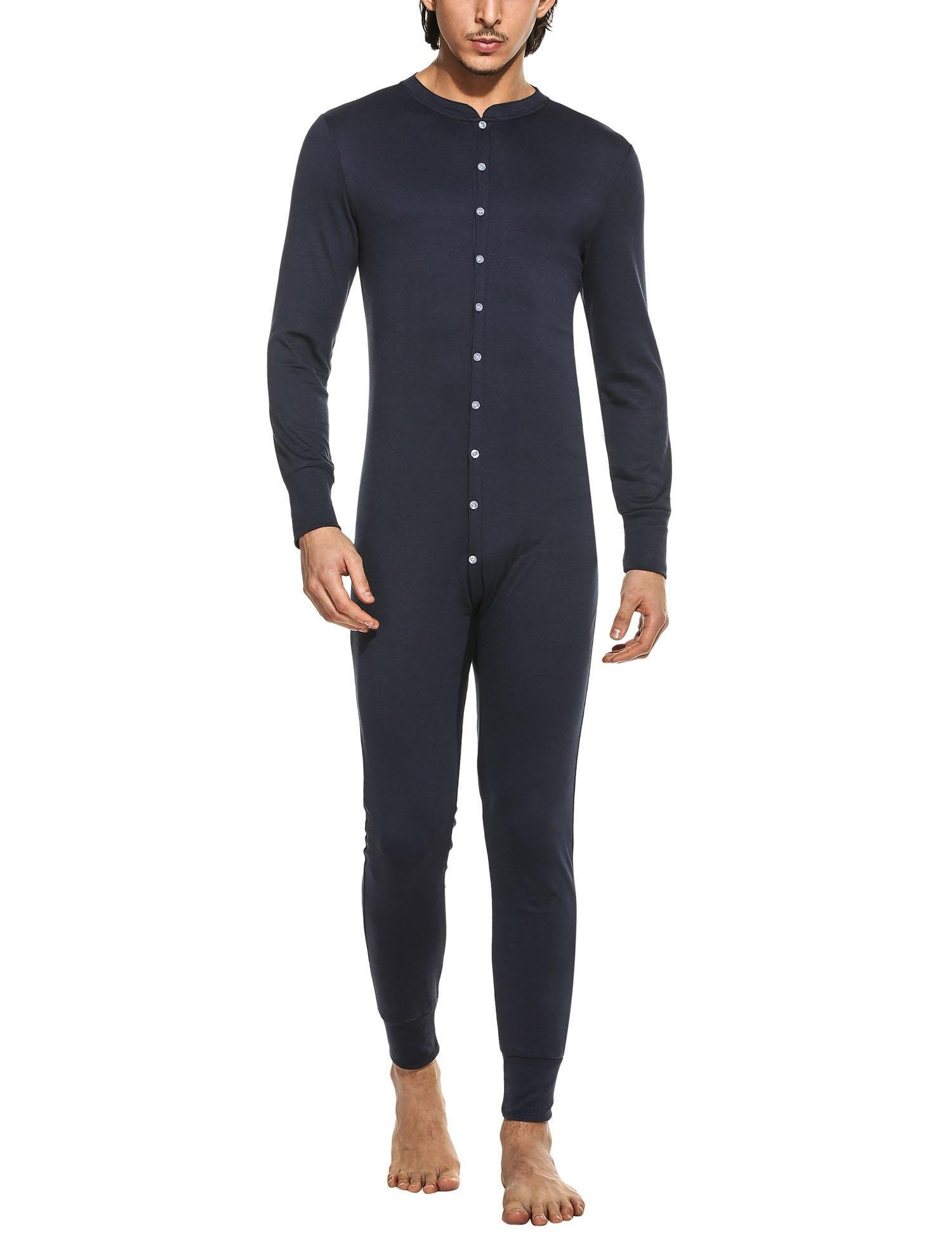 MAXMODA Men's Full Button Front Base Layer Union Suit Navy XL