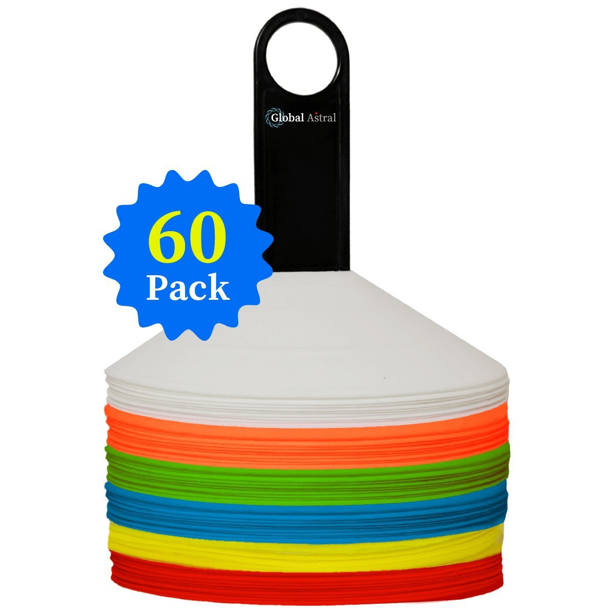 Global Astral Disc Cones - Set of 60, Soccer Disc Cones, Agility Cones For Sports, Drills, Football, Basketball, Slalom, Training, Exercise, Kids, Lacrosse - Field Markers Multi Color Training Cones