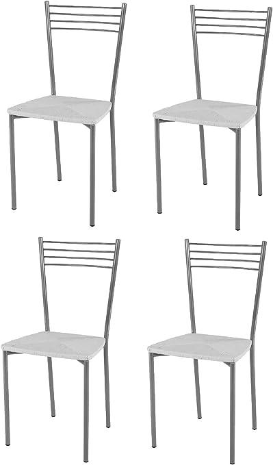 tmcs Tommychairs Set 4 sedie Moderne Elena per Cucina e Sala da Pranzo, Struttura in Acciaio Verniciata Color Alluminio e Seduta in Finta Paglia