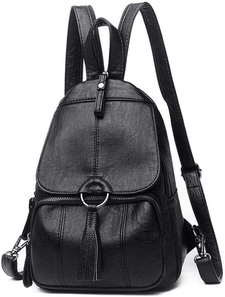 Fashion tassel Women Backpacks Womens soft Leather Backpacks Female school Shoulder bag for teenage girls Travel Backpack