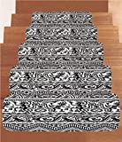 iPrint Non-Slip Carpets Stair Treads,Primitive,Monkeys Birds Primitive Animal Motifs Tribal Ornaments African Petroglyph Theme,Black White,(Set of 5) 8.6''x27.5''