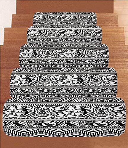 iPrint Non-Slip Carpets Stair Treads,Primitive,Monkeys Birds Primitive Animal Motifs Tribal Ornaments African Petroglyph Theme,Black White,(Set of 5) 8.6''x27.5'' by iPrint