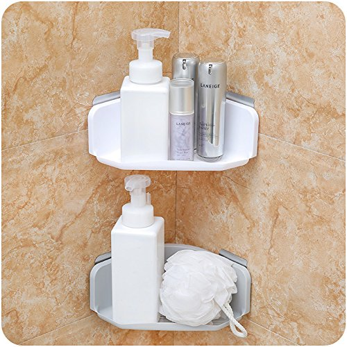 (Cq acrylic Bathroom Shower Shelf Triangle Wall Shower Caddy Shelf Adhesive No Damage Wall Mount (Gray 2PCS))