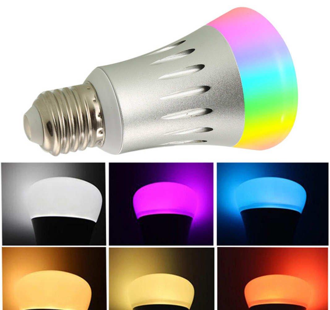 Bombilla LED Inteligente 7W RGB Blanco RGBW Cambio De Color Regulable WiFi Activar Control Remoto App Control De Teléfono Función De Sincronización Sin ...