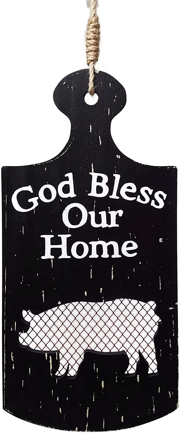 """LL Imports Farmhouse Kitchen Wall Decor, Wood, God Bless Our Home, 13"""" (Black/Pig)"""
