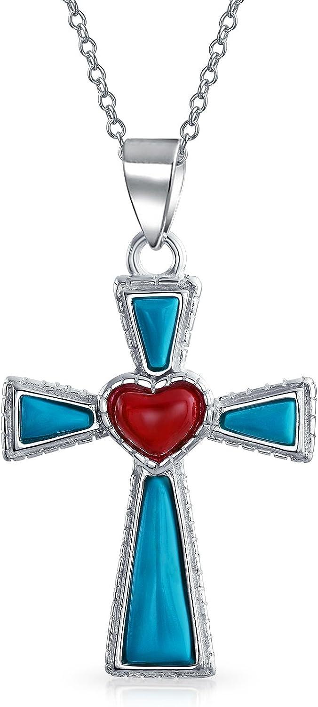 Bling Jewelry del Suroeste Estabilizado SOGA Borde Turquesa Corazón Rojo Cruz Colgante Plata Esterlina Collar Mujer Cadena1,75 Pulg.