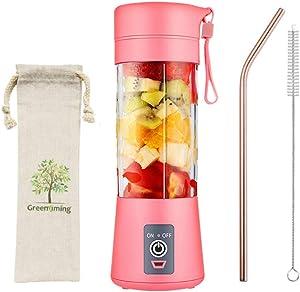 Pink Blender 500ml Capacity Mini USB Portable Juicer Cup Juicer Portable Small Fruit Juice Maker Blender Por Travel (Pink)