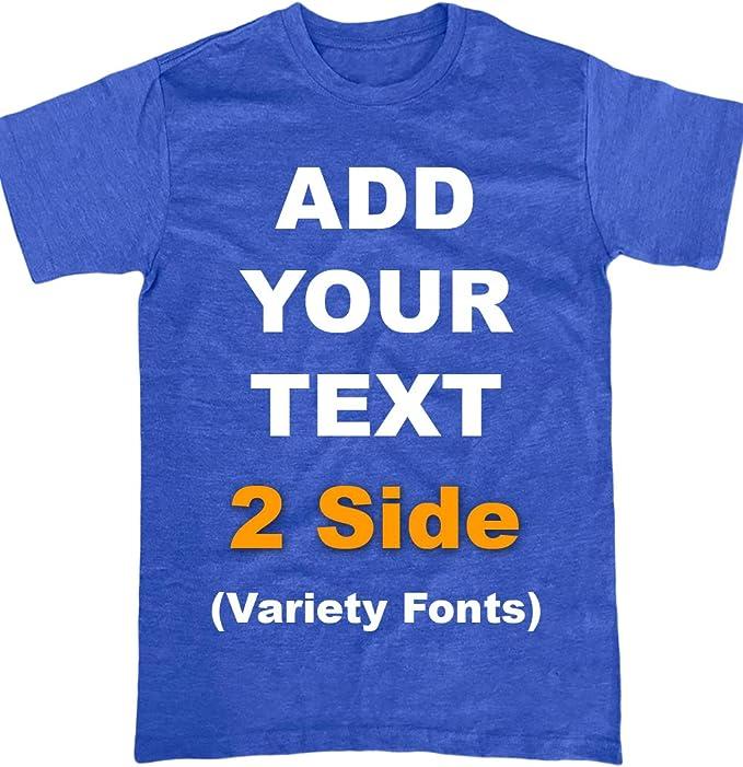 piccolo ruvido abbreviazione  Amazon.com: Custom T Shirts Front & Back Add Your Text Ultra Soft for Men &  Women Cotton T Shirt: Clothing
