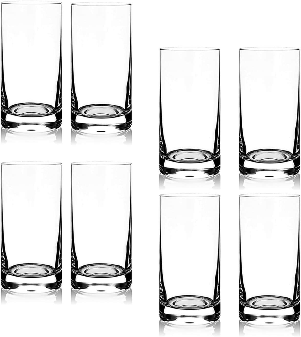 8PCS 11 oz Glasses Highball Glasses Drinking Glass Heavy Base Red Wine Glasses Water Beer Glass Set Multipurpose