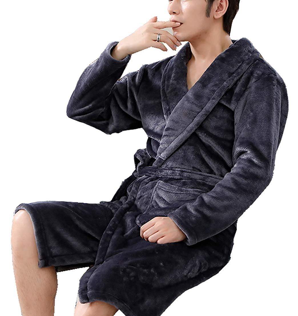 Seaoeey Mens Nightgown Loose Bathrobe Autumn and Winter Thickening Kimono Robe