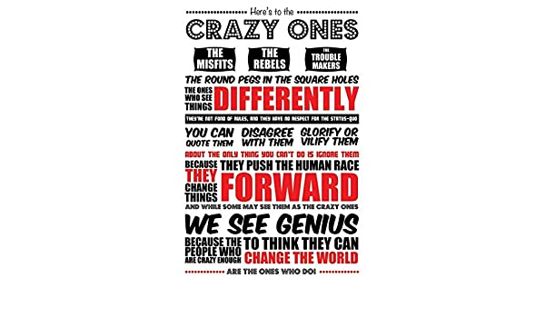 b1f038eeb85dfe Amazon.com   HERE S TO THE CRAZY ONES - STEVE JOBS QUOTE - POSTER (WHITE)    Sports   Outdoors