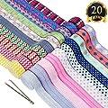 SUBANG 20 Styles Printed Stretch Fold Over Elastic Headband Elastic with 1 Elastic Clip by SUBANG