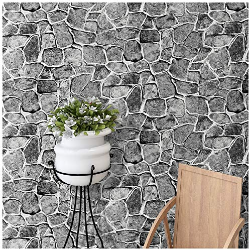 HaokHome 620394 Stone Wallpaper Peel and Stick Removable Castle Tower Brick Rock Wall Fortress Gray Contact WallpaperSelf Adhesive Contact Paper (Removable Panel)