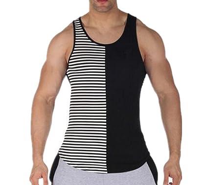 0e7c5ffc88843 Q Y Men s Stripe Blank Stringer Y-Back Workout Gym Tank Tops  Amazon ...